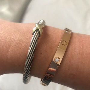 David Yurman 5MM 14K gold X bracelet